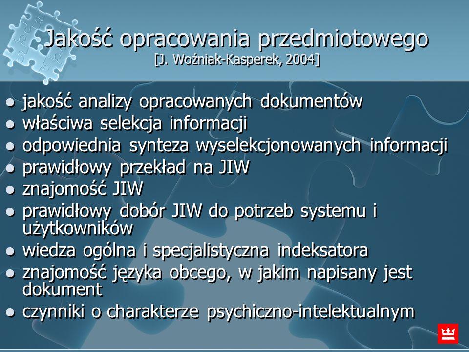 Jakość opracowania przedmiotowego [J. Woźniak-Kasperek, 2004]